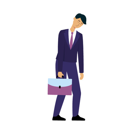 Sleepy tired businessman going to work, male cartoon character in office suit falling asleep standing up and looking sad and unhappy, isolated hand drawn vector illustration on white background