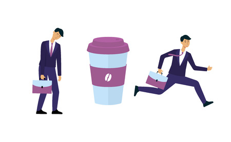 Business man before and after cup of coffee - tired and sleepy male worker becomes awake and excited, caffeine energy stimulation contrast, isolated vector illustration on white background