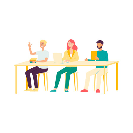 Group of students sitting behind table to get education, young people learning in business or language school, isolated hand drawn cartoon characters on white background, vector illustration Ilustração