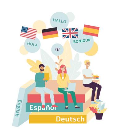 Formazione e webinar o lezioni di lingua straniera online piatto illustrazione vettoriale isolato su sfondo bianco. Lezioni in lingue straniere nel gruppo online. Vettoriali