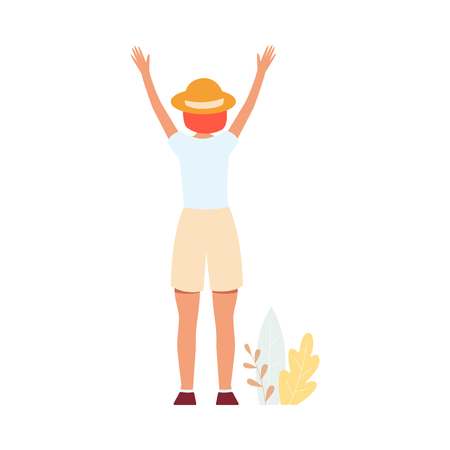 Back side of woman in shorts and hat standing arms raised up cartoon style, vector illustration isolated on white background. Rear view girl in winner or success or freedom pose and leaves