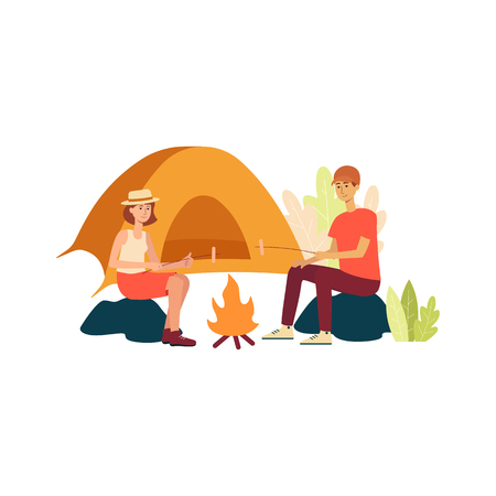 Couple sitting by bonfire frying marshmallow on sticks nearby tent cartoon style, vector illustration isolated on white background. Man and woman during camping trip or hiking