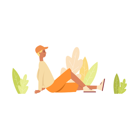 Man in shorts and cap sitting on the ground surrounded leaves cartoon style, vector illustration isolated on white background. Young male in casual clothes resting on floor with spread one leg Иллюстрация