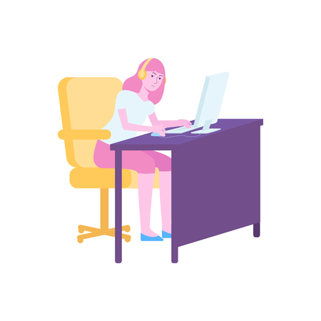 Gamer girl playing on computer, young female cartoon character sitting at desk with headphones and looking at screen, isolated flat vector illustration on white background Illustration