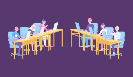 Two teams of gamers in gaming competition, professional cyber sport players playing a game on pc computers behind tables. Isolated flat vector illustration in hand-drawn cartoon style Illustration