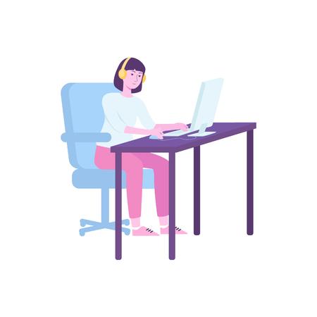 Chica joven o mujer cyber sport player o jugador profesional sentado en su lugar de trabajo con ilustración de vector de computadora aislado sobre fondo blanco. Concepto de personas e-sport.