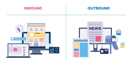 Comparison inbound and outbound marketing, on-line and offline marketing concept flat vector illustration isolated on white background. Strategy for business.