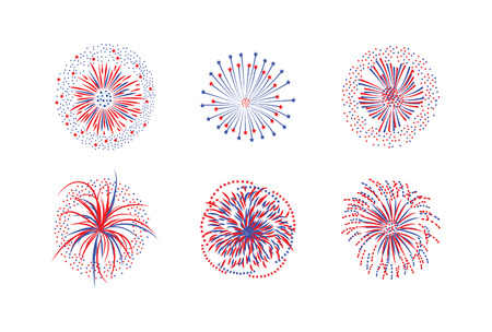 Set of firework rays and stars or firecracker lights flat vector illustration isolated on white background. Christmas and New Year celebration or festival design element.