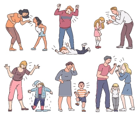 Set of angry parent with emotional child, father and mother screaming at son or daughter, collection of different types of conflict. Isolated vector illustration in cartoon sketch style.