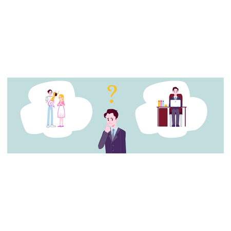 Businessman choosing between family responsibilities and career or professional success flat cartoon vector banner or template background. Life choice and balance concept.