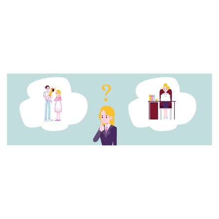 Woman choosing between family responsibilities and career or professional success flat cartoon vector banner or template background. Life choice and balance concept.