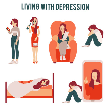 Set of lonely unhappy women suffering from depression or relationship breakdown icons. Depressed girls loneliness concept vector illustration isolated.
