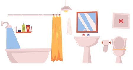 Bathroom interior furniture elements, such as bathtub with curtain and closet with shelves and washing gel or shampoo flat vector illustration isolated on white background.