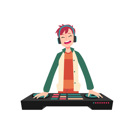 Man stands in headphones holding hands on DJ console cartoon style, vector illustration isolated on white background. Smiling male closed eyes spins mixing deck and plays music on sound board