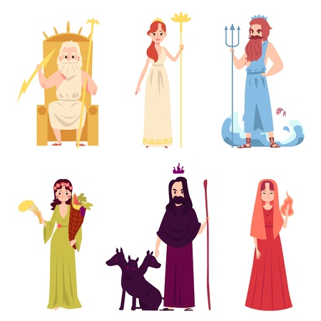 Set of male and female ancient Greek or Roman Gods and Goddesses cartoon style, vector illustration isolated on white background. Zeus and Hera and Poseidon and Demeter and Hades and Hestia