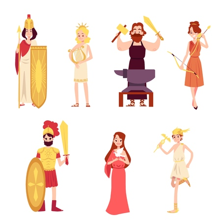 Male and female ancient Greek or Roman Gods set cartoon style, vector illustration isolated on white background.