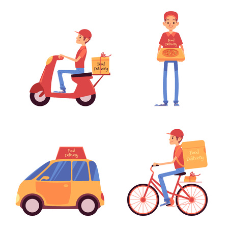 Set of delivery men standing and riding on vehicles cartoon style, vector illustration isolated on white background. Food service courier holding pizza box and driving on scooter and bicycle and car Иллюстрация