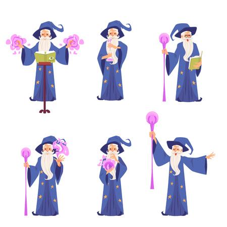 Satz von Charakteren des alten magischen Zauberers mit Hut und Bart, Vektorkonzept von Magie, Hexerei und Zaubersprüchen. Satz von Charakteren des Fantasy-Zauberers mit einem Personal, einem Buch, einer flachen Illustration der Karikatur.