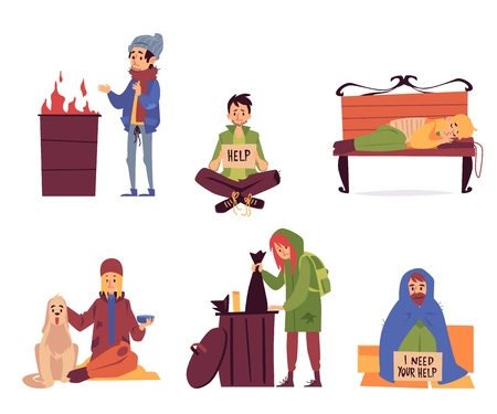 Satz von Obdachlosen in verschiedenen hilfebedürftigen Situationen Cartoon-Stil, Vektor-Illustration isoliert auf weißem Hintergrund. Arme Männer und Frauen betteln sitzen und schlafen und schauen auf die Straße nach Essen Vektorgrafik