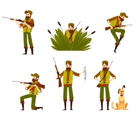 Hunter man shooting and aiming with rifle and dog set of vector flat design illustrations isolated on white background. Beardie with a gun in camouflage cartoon characters. Illustration