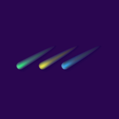 lights in space, colorful glowing asteroid or meteorite trace lines going down. Green, yellow and blue star trails - galaxy objects vector illustration isolated on dark background Ilustração