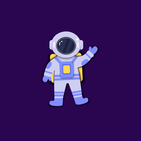 Astronaut in space suit is floating in weightlessness paper art flat style, vector illustration isolated on dark blue background. Cosmonaut in pressure suit and helmet standing with greeting gesture
