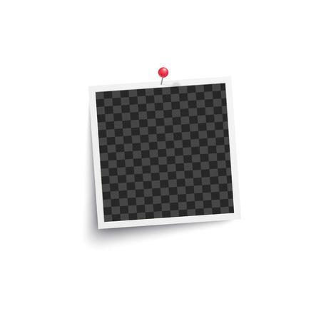 Álbum marco de fotos vacío en blanco o cuadrado fijado a una maqueta de pared blanca. Ilustración de vector de tarjeta retro aislado en blanco.