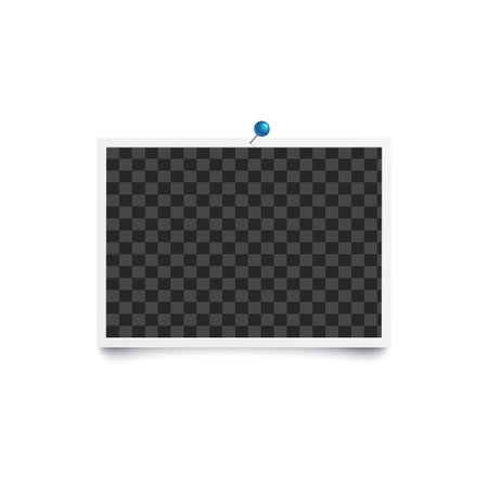 Album blank or empty photo horizontal frame pinned to white wall mockup. Photorealistic retro card backdrop vector illustration isolated on white. Stock Vector - 124787681