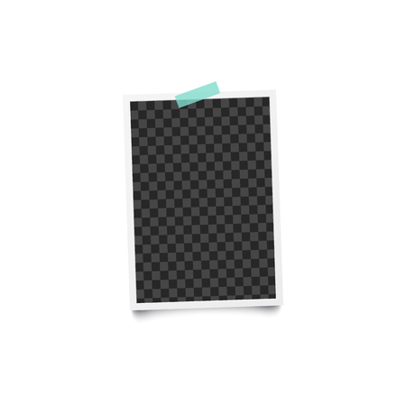 Album blank or empty photo vertical frame placed on wall by one piece of blue adhesive tape mockup. Photorealistic retro card backdrop vector illustration isolated on white.