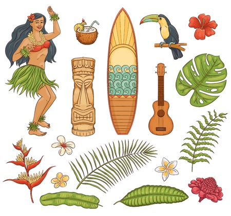 Hawaiian tropical vacation symbols vector illustration isolated on white background. Beautiful exotic summer plants and other goods hand drawn icons set in sketch style.