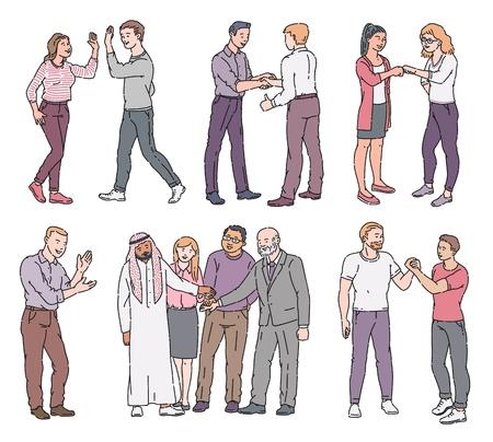 Ensemble de personnes debout avec salutation et montrant le style de croquis de gestes de respect, illustration vectorielle isolée sur fond blanc. Personnages masculins et féminins avec des manières d'approbation et de rencontre