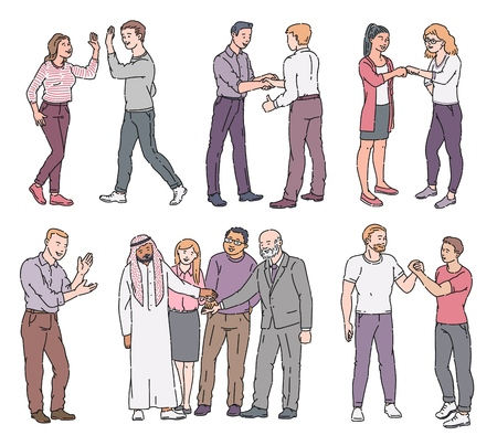 Set of standing people with greeting and showing respect gestures sketch style, vector illustration isolated on white background. Men and women characters with approving and meeting manners