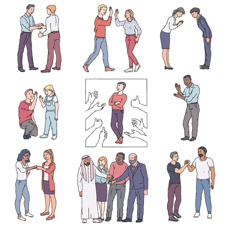Set of cartoon people greeting each other - isolated vector illustration. Flat hand drawn men and women characters doing handshake, high five, thumbs up, fist bump on white background.
