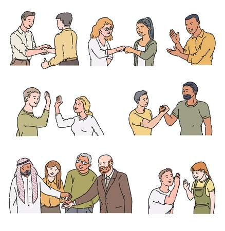 Cartoon characters doing positive gestures - handshake, high five, applause, fist bump. People greeting and meeting each other, isolated hand drawn vector illustration isolated on white background