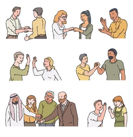 Personaggi dei cartoni animati che fanno gesti positivi: stretta di mano, batti cinque, applausi, urto di pugno. La gente si saluta e si incontra, illustrazione vettoriale disegnata a mano isolata isolata su sfondo bianco white