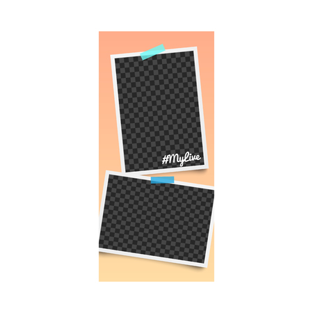 Realistic editable template and photo frame for stories on social networks with hashtag and stickers on orange background. Blank and empty template and photo frame for stories, vector illustration.