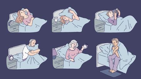 Persone a letto che soffrono di insonnia. Collezione di personaggi dei cartoni animati privati del sonno seduti e sdraiati stanchi nelle loro camere da letto insonni, set di illustrazioni vettoriali isolati su sfondo bianco.