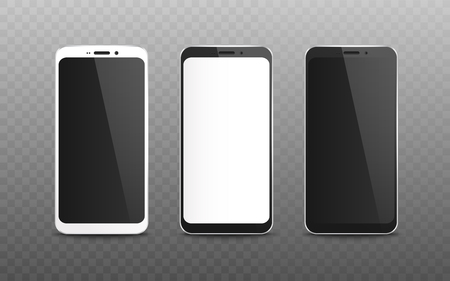 Set of realistic blank screen and display of black and white mobile phone and smartphone, digital device on transparent background, vector illustration. Ilustração Vetorial