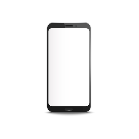 Black smartphone with blank white screen - realistic mockup. Modern mobile phone with empty display, smart technology equipment isolated on white background, vector illustration Stock Vector - 124787687