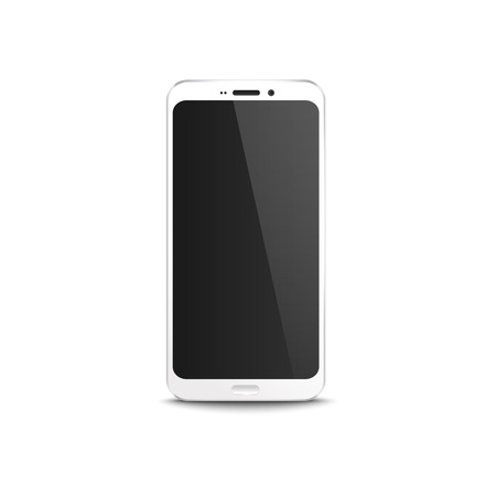 White mobile phone with black blank display, realistic mockup of modern smartphone with locked home screen, isolated vector illustration on white background  イラスト・ベクター素材