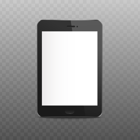 Black isolated tablet mockup with blank white screen, digital technology device with empty display for app interface or web advertisement, realistic 3D electronic gadget - vector illustration