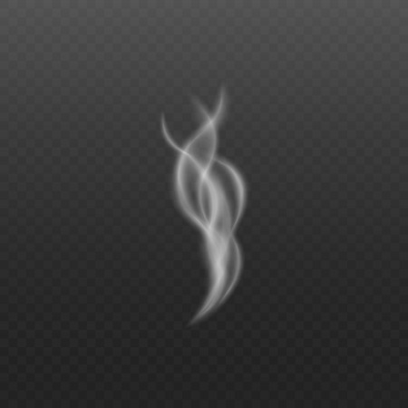 Steam or smoke realistic swirl shaped white element on dark transparent background 3d realistic isolated vector illustration. Flowing vanishing smooth abstract wave.