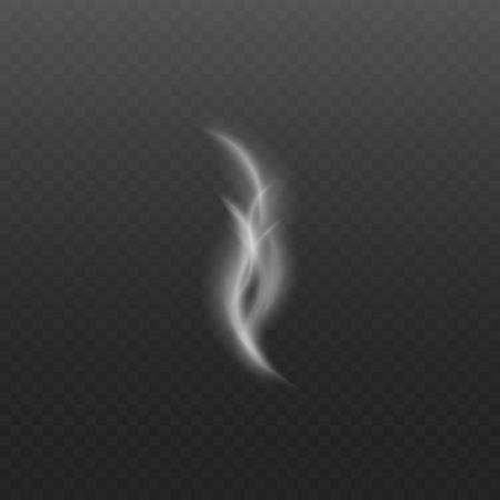 A trickle of steam or smoke realistic curled element on dark transparent background 3d realistic isolated vector illustration. Flowing vanishing smooth abstract wave. 矢量图像