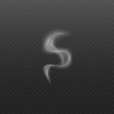 Vanishing smoke trickle or steam wave from cigarettes and hot food vector 3d illustration isolated on dark transparent background. Fog and mist motion effect.