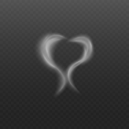 Transparent white steam fog in heart shape, two waves of cigarette smoke or vapor smog in romantic love symbol, realistic vector illustration isolated on transparent background Ilustração