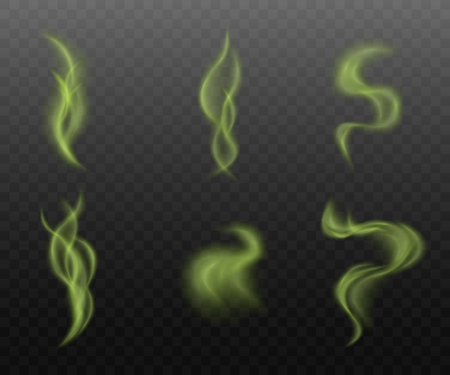 Set of green smoke clouds on transparent background, realistic vapor steam collection in curvy motion shapes, toxic mist or bad smell vapor - isolated vector illustration