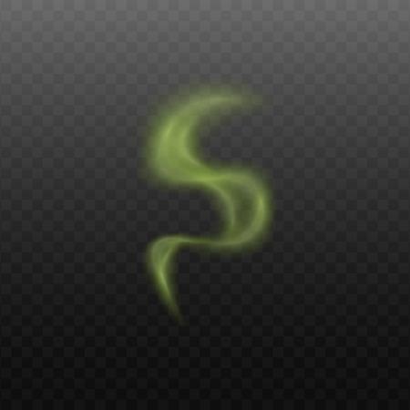 Zielona chmura pary dymu w abstrakcyjnym krzywym kształcie na przezroczystym tle. Nieprzyjemny zapach lub smród znak lub toksyczne opary pierwiastków - realistyczna ilustracja wektorowa Ilustracje wektorowe