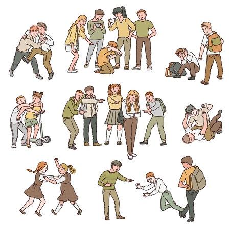A set of situations of conflict and fights, abuse and personal violence, bullying between children and teenagers, boys and girls at school. Vector isolated cartoon illustration.