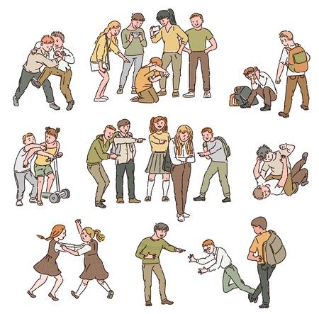 Un conjunto de situaciones de conflicto y peleas, maltrato y violencia personal, bullying entre niños y adolescentes, niños y niñas en la escuela. Ilustración de dibujos animados de vector aislado.