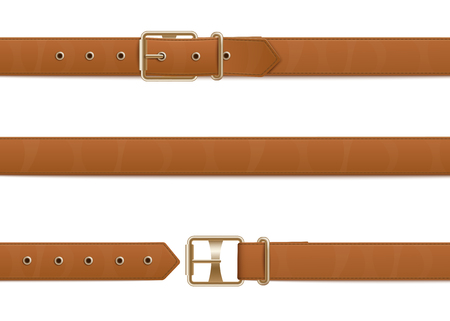 Buttoned, open and closed brown leather belt with metal buckle. Set of realistic brown belts with buckles, fashion accessories and clothes elements. Isolated vector illustration.